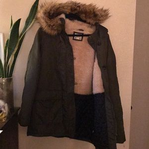 Forever 21 Raincoat Sherpa Puffer military coat